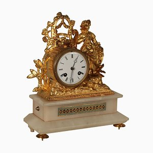 Gilded Antimony Alabaster Table Clock, 1800s