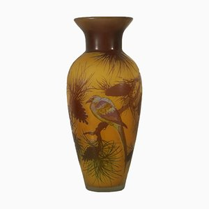Mid-Century Decorated Glass Vase