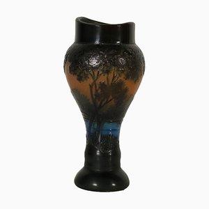 Vaso vintage in vetro policromo, Francia