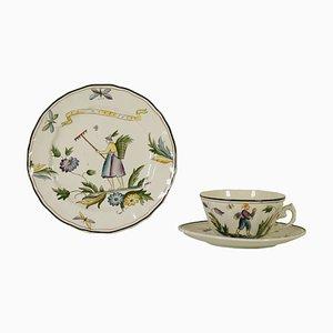 Juego de plato y taza de Gio Ponti, años 30
