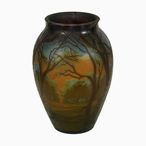 Vintage Vase mit Landschafts-Motiv von Galle
