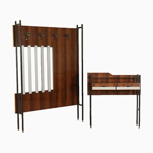 Vintage Italian Rosewood Veneer Set with Hall Stand & Console Table, 1960s