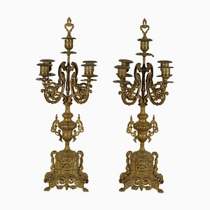 Antique Italian Gilded Bronze Candle Holders, Set of 2