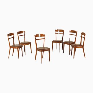 Italian Stained Beech Leatherette Chairs, 1960s, Set of 6