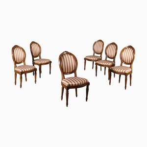 Antique Neoclassical Italian Walnut Chairs, Set of 6