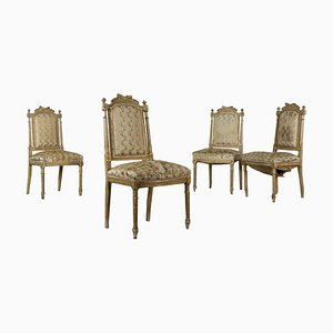 Antique Italian Wooden Revival Chairs, Set of 4