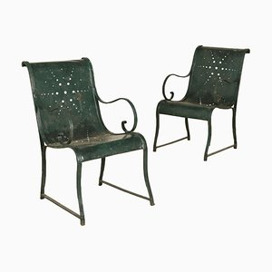 19th-Century Italian Iron Armchairs, Set of 2