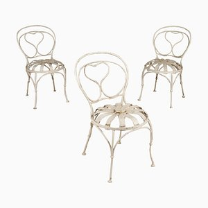 Antique Italian Iron Chairs, Set of 3