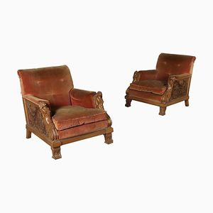 Antique Italian Walnut Carved Armchairs, Set of 2
