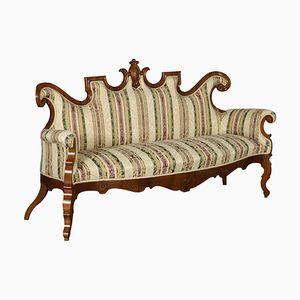 Geschwungenes Sofa mit Gestell aus Nussholz von Louis Philippe, 19. Jh.
