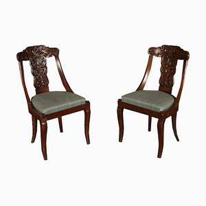 Italian Walnut Gondola Chairs, 1800s, Set of 2