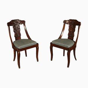 Italienische Gondola Stühle aus Nussholz, 1800er, 2er Set