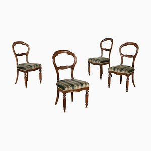 19th-Century Italian Walnut Chairs, Set of 5