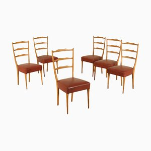 Vintage Italian Beech & Leatherette Dining Chairs, Set of 6