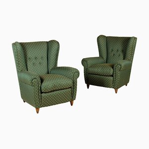 Vintage Italian Bergere Armchairs with Feather Cushions, Set of 2