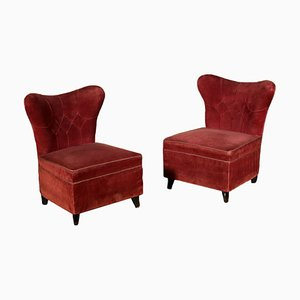 Italian Velvet Lounge Chairs, 1940s, Set of 2