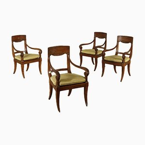 19th-Century Italian Walnut Armchairs, Set of 4