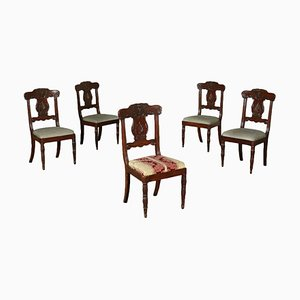 Antique English Mahogany Dining Chairs, Set of 5