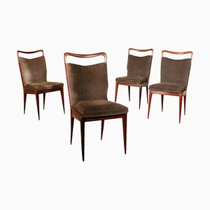 Italian Mahogany & Velvet Dining Chairs from ISA, 1950s, Set of 4