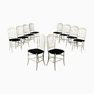 Italian Lacquered Wood & Fabric Dining Chairs, 1960s, Set of 10