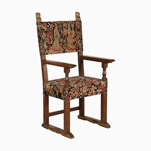 Large Antique Italian Walnut Throne Chair