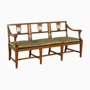 Antique Italian Walnut & Cane Upholstered Bench