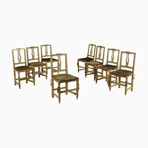 Carved & Lacquered Walnut Chairs, 1700s, Set of 8