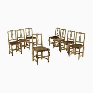 Sedie in noce intagliata e laccate, XVIII secolo, set di 8