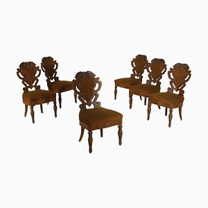 Louis Philippe Style Italian Walnut Chairs, 1800s, Set of 6