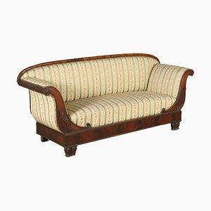 Antikes italienisches Sofa mit Gestell aus geschnitztem Mahagoni, 19. Jh.