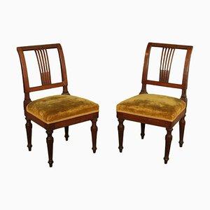 Chaises en Noyer, Italie, 1700s, Set de 2