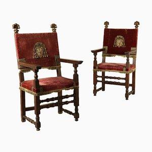Italienische Armlehnstühle aus geschnitztem Nussholz, 1700er