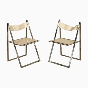 Vintage Italian Elios Folding Chairs by Colle D'Elsa, 1970s, Set of 2