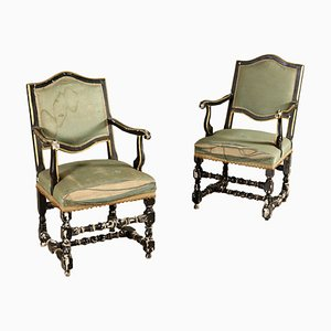 Antique Italian Walnut Armchairs, 1700s, Set of 2