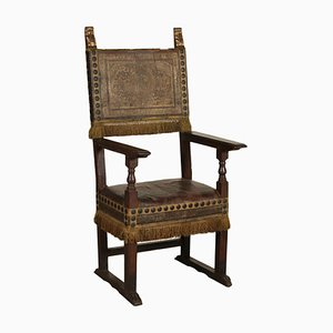 Large Italian Walnut & Leather Armchair, 1700s