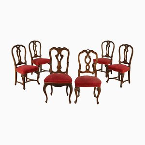Antique Italian Walnut Dining Chairs, Set of 6