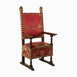 Italian Gilded Walnut & Silk Throne Chair, 1700s