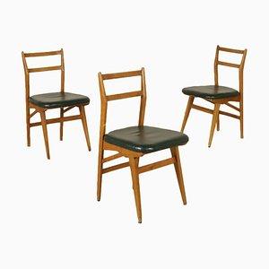 Italienische Mid-Century Stühle aus Lärche & Kunstleder, 3er Set