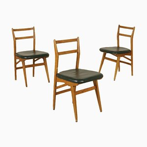 Mid-Century Italian Larch & Leatherette Chairs, Set of 3