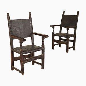 Chaises Trône en Noyer Massif & Peuplier, 1600s, Set de 2