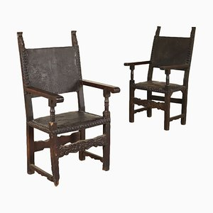 Solid Walnut & Poplar Throne Chairs, 1600s, Set of 2