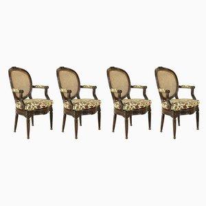 Antike neoklassizistische Armlehnstühle, 4er Set