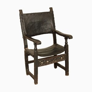 Antique Italian Walnut, Leather & Iron Armchair