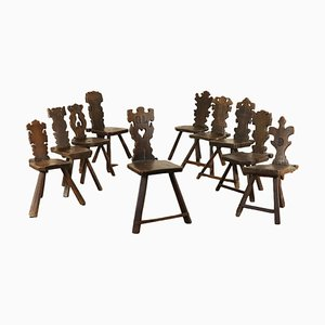17th-Century Italian Walnut Side Chairs, Set of 10