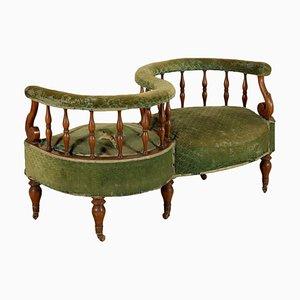 Sofá italiano antiguo de nogal, década de 1800