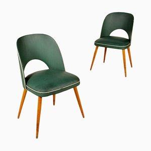 Italienische Beistellstühle aus Skai & Buche, 1950er, 2er Set