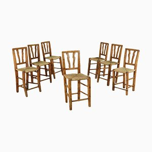 19th-Century Rustic Italian Poplar Chairs with Straw Seats, Set of 7
