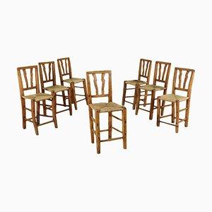 Chaises Rustiques en Peuplier avec Assises en Paille, Italie, 19ème Siècle, Set de 7