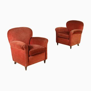 Vintage Velvet Spring Padding Armchairs, Set of 2