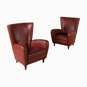 Vintage Italian Leatherette Armchairs, 1950s, Set of 2
